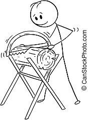 bois, bûche, ou, découpage, scie main, dessin animé, scie, dessin, homme