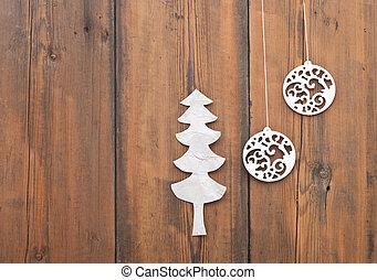 bois, balle, arbre, papier, fond, noël