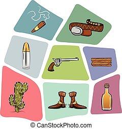 bois, balle, boots., planche, cow-boy, cactus, ceinture, fusil, cigare, tequila