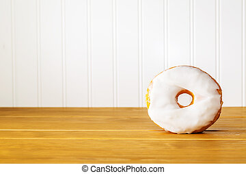 bois, beignet, blanc, table