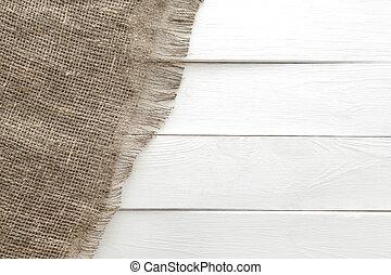 bois, blanc, burlap, fond, texture