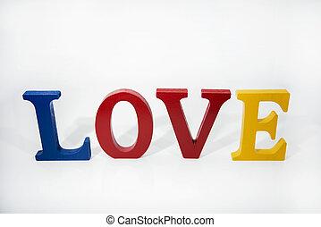 bois, blanc, lettres, amour, arrière-plan., coloré