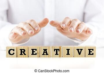 bois, -, blocs, mot, créatif