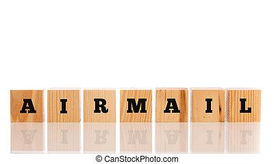 bois, -, blocs, mot, poste aérienne