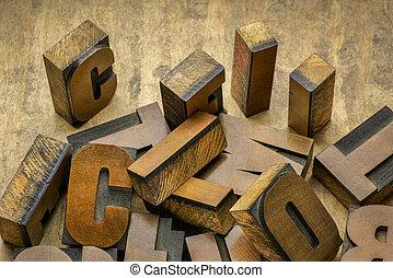 bois bloque, letterpress, vendange, impression, type