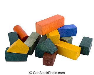 bois, briques, fond blanc