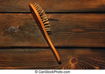 bois, brosse cheveux, fond