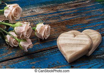 bois, cœurs, fait main, roses