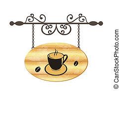 bois, café, signe, forger, tasse