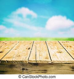 bois, campagne, vide, dehors, table