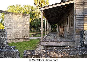 bois, cassé, vieux, mur, maison
