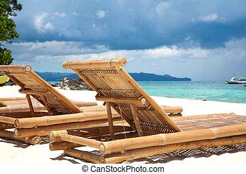 bois, chaises, plage, pont