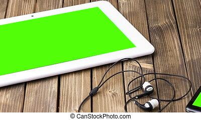 bois, chariot, intelligent, casque à écouteurs, ordinateur portable, arrière-plan., téléphone, appareil-photo vidéo, photo