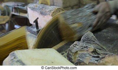 bois, charpentier, découpage, atelier, utilisation, scie, circulaire