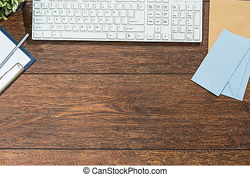 bois, clavier, bureau