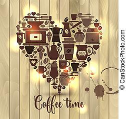 bois, coeur, café, icons., illustration