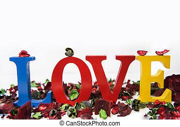 bois, coloré, blanc, amour, lettres, arrière-plan.