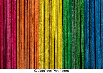 bois, coloré, empilé, bâtons, côté