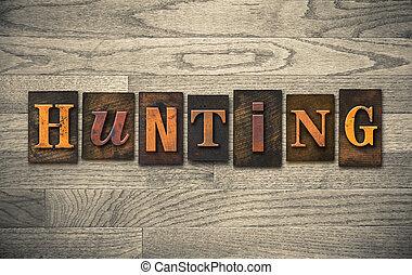 bois, concept, chasse, letterpress