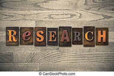 bois, concept, letterpress, recherche