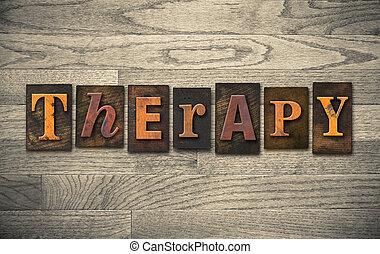bois, concept, thérapie, letterpress