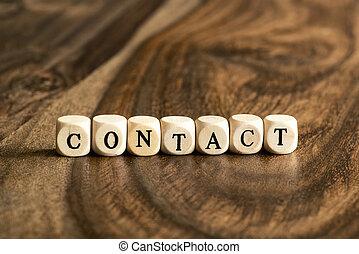 bois, contact, mot, cubes