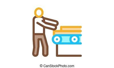bois, convoyeur, matériel, animation, icône