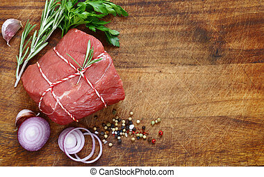 bois, cru, organique, viande, table