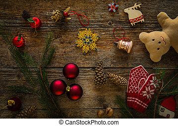 bois, décoration, objets, noël, fond