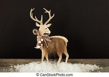 bois, décoration, renne, neige, noël