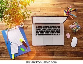 bois, desk., lieu travail, bureau