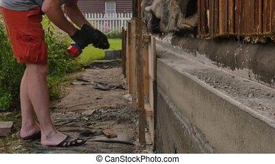 bois, dismantles, fondation, nouveau, house., vieux, 4k, formwork, ouvrier