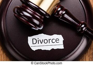 bois, divorce, concept, maillet