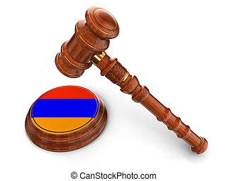 bois, drapeau, arménien, maillet
