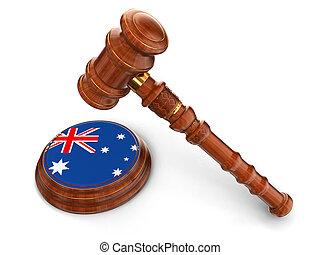 bois, drapeau australien, maillet