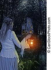 bois, elfe, femme, lanterne