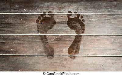 bois, encombrements, floor., sombre, mouillé, planche