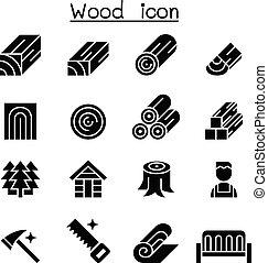 bois, ensemble, icône