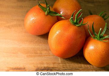 bois, espace, texte, fond, orange, tomates