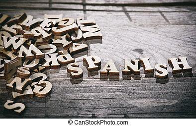 bois, espagnol, fait, mot, letters.