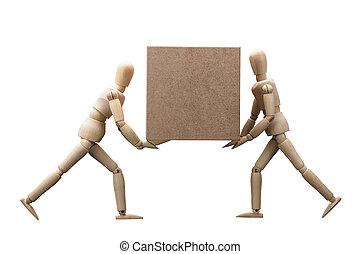 bois, factice, boîte portant, carton