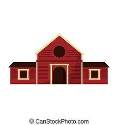 bois, ferme, grange, bâtiment, isolé