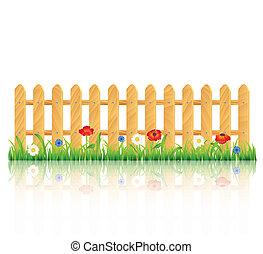 bois, fleurs, herbe, barrière