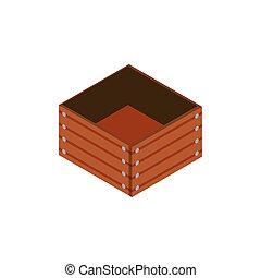 bois, fond blanc, boîte