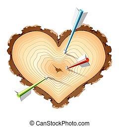 bois, forme coeur, flèches