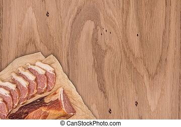 bois, fumé, table., viande
