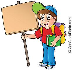 bois, garçon, école, planche, tenue
