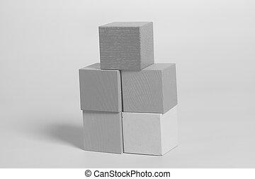 bois, gris, cubes, fond