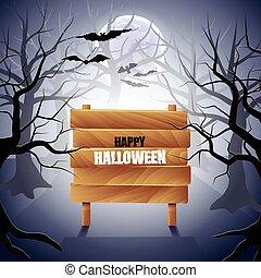 bois, halloween, signe, forêt, fond, brumeux