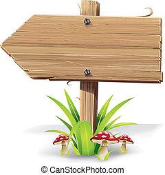 bois, herbe, mushroom., flèche